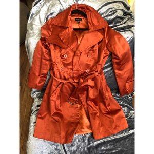 Super fab orange trench coat!